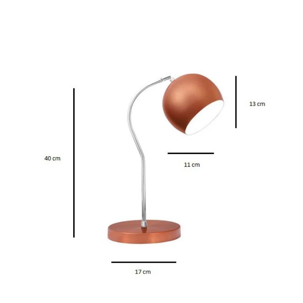Luminária de Mesa Cobre 40cm Abajur E27 Bola Alumínio