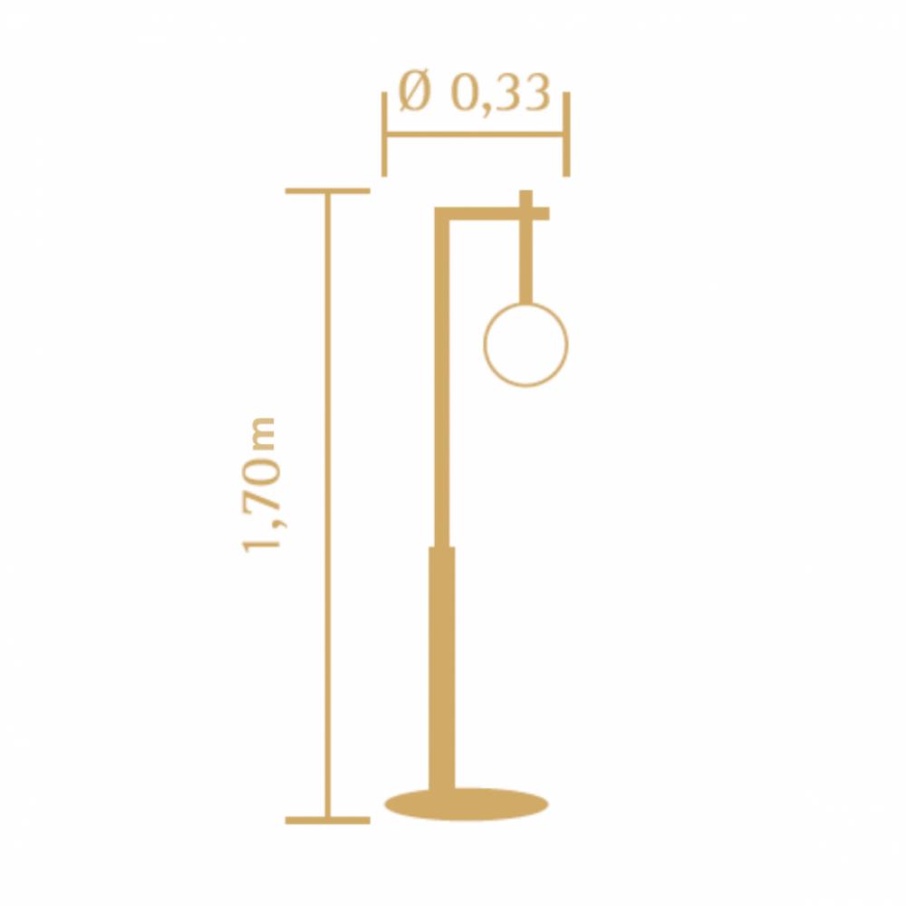 Luminária de Chão 170cm Esphera Vidro Leitoso Madeira Castanho Madelustre