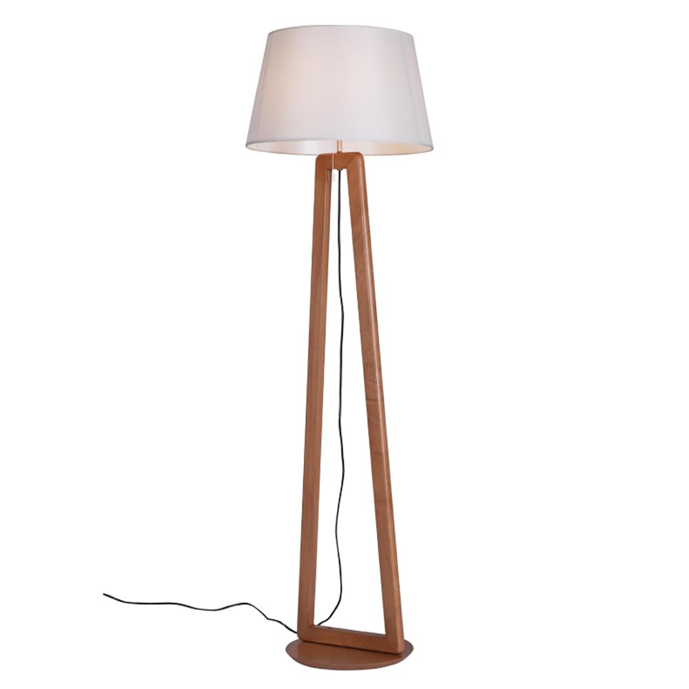 Luminária de Chão Join 170cm Madeira Castanho Cúpula Algodão Cru Madelustre
