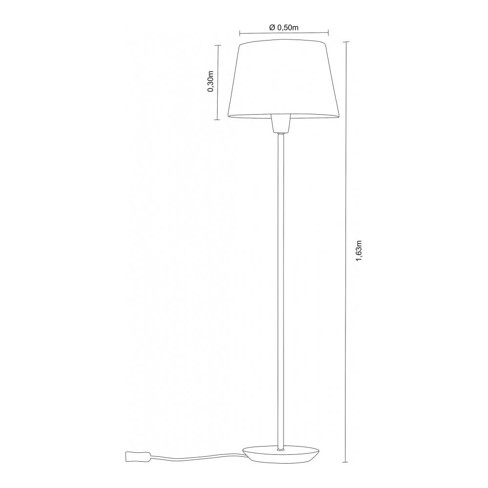 Luminária de Chão Slim 163cm Castanho Cúpula Branca Madelustre