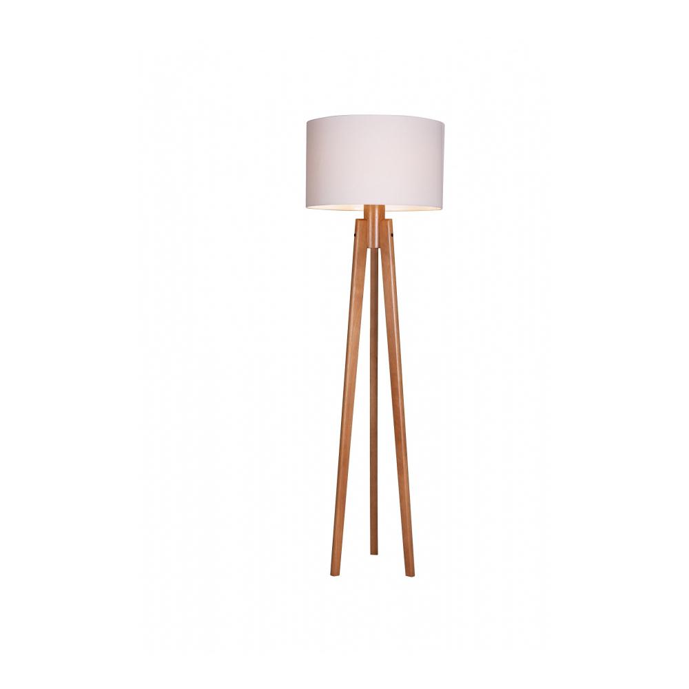 Luminária de Chão 170cm Tripé Madeira Cúpula Algodão Cru Madelustre