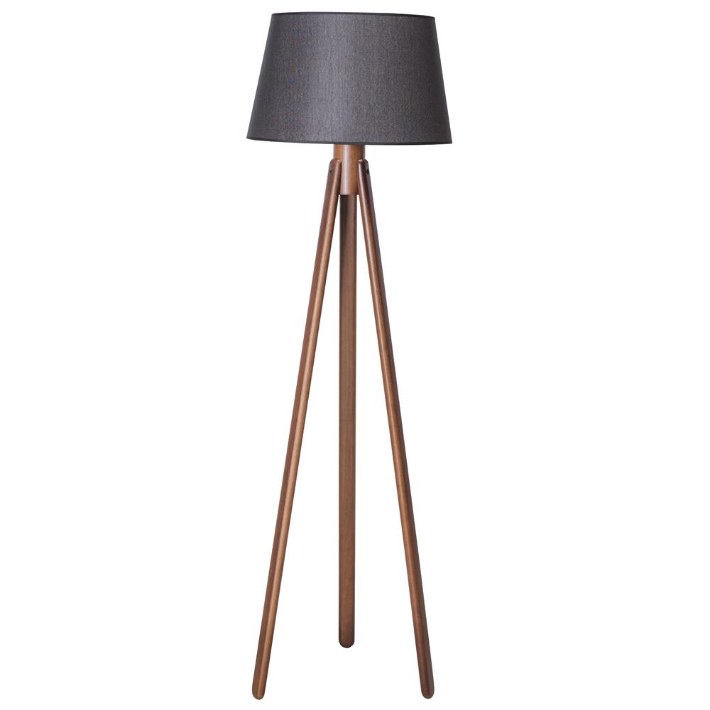 Luminária de Chão 170cm Tripé Madeira Imbuia Cúpula Preta Madelustre