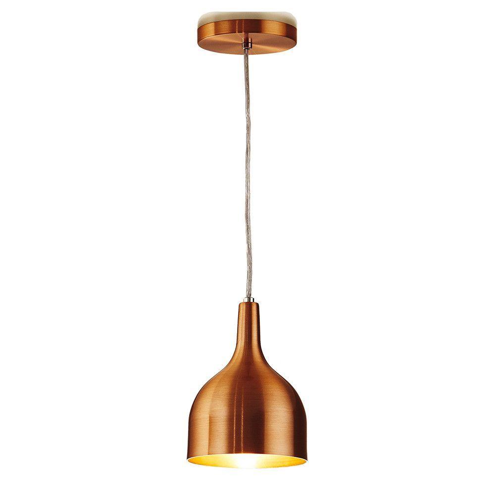 Luminária Pendente 20x14.5cm 1 Lâmpada Aluminium Cobre - TKS