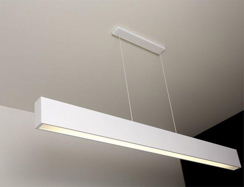 Luminária Pendente 1 Lâmp. Retangular 125cm Alumínio Branco Arky