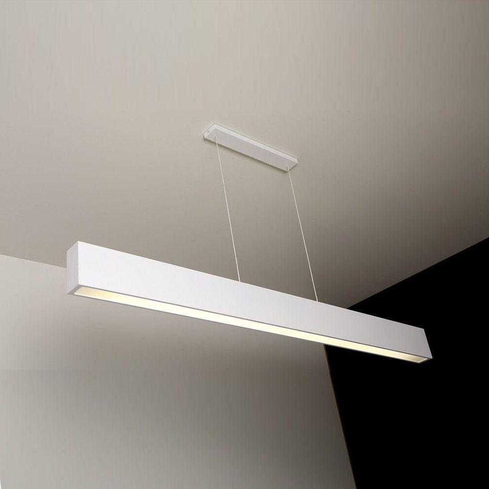 Luminária Pendente 1 Lâmp. Retangular 65cm Alumínio Branco Arky