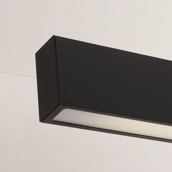 Luminária Pendente 1 Lâmp. Retangular 65cm Alumínio Preto Arky