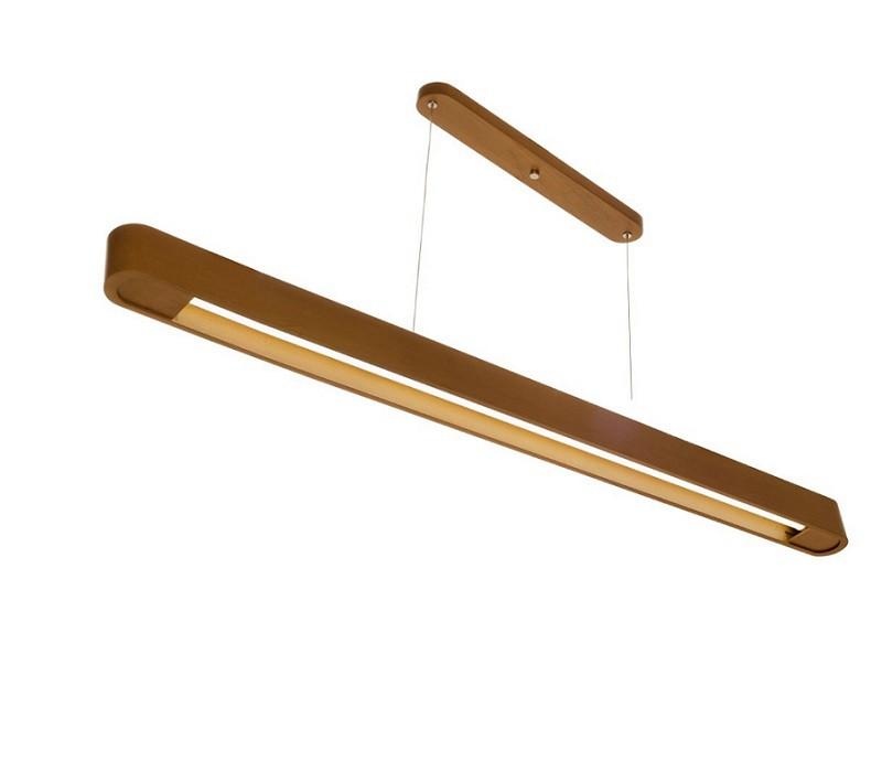 Luminária Pendente 1Lâmp Retangular 130cm Madeira Castanho Madelustre