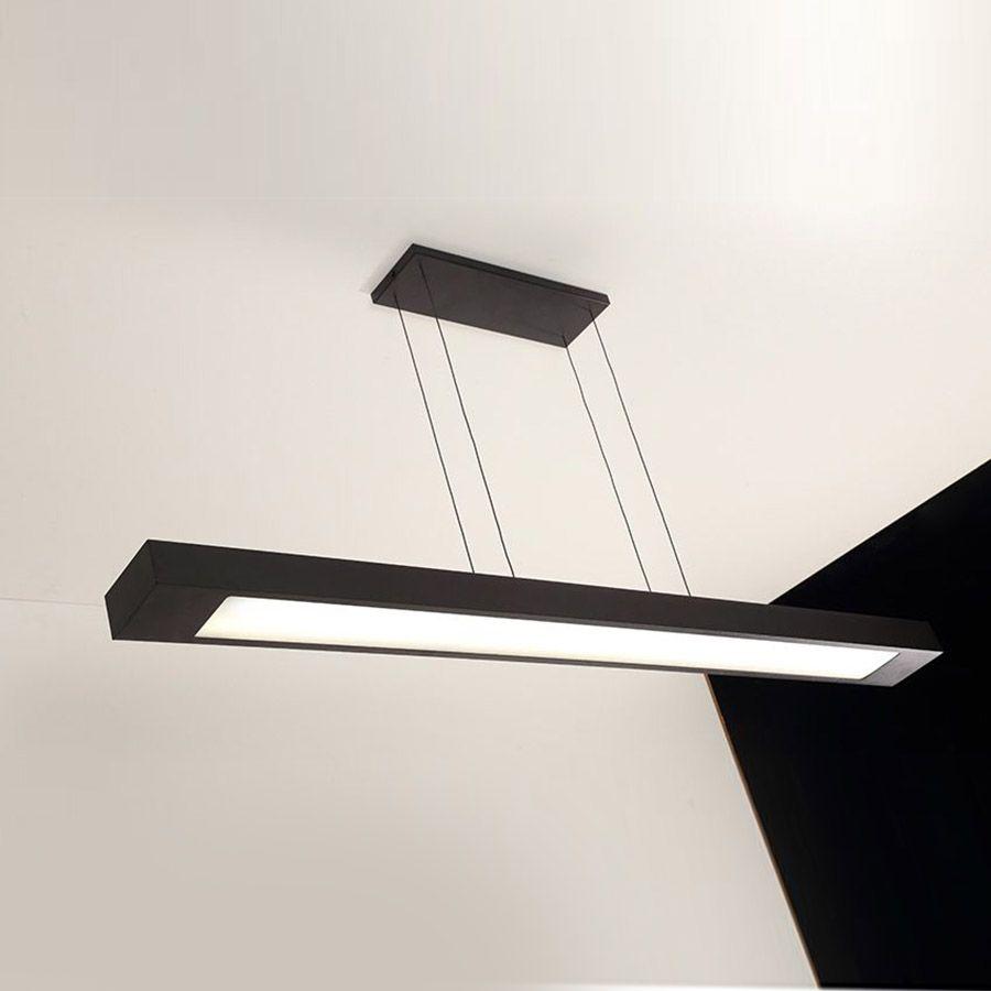 Luminária Pendente 2 Lâmp. Retangular 125cm Alumínio Preto Arky