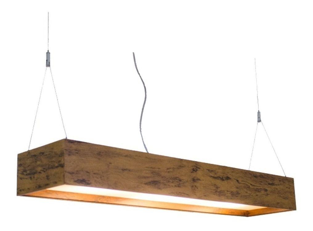 Luminária Pendente 2 Lâmp. Retangular 125cm em Madeira Imbuia