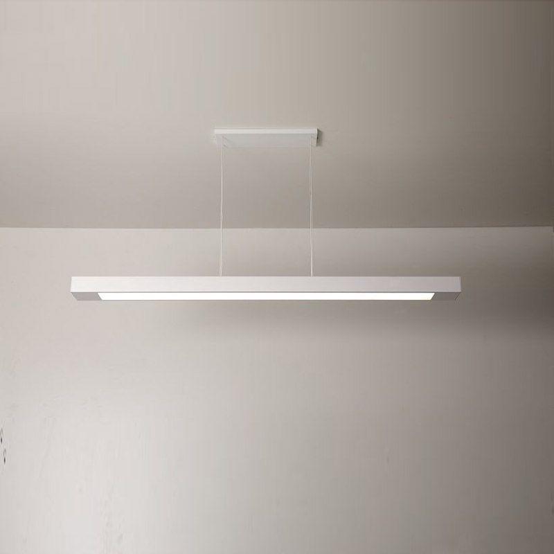 Luminária Pendente 2 Lâmp. Retangular 65cm Alumínio Branco Arky