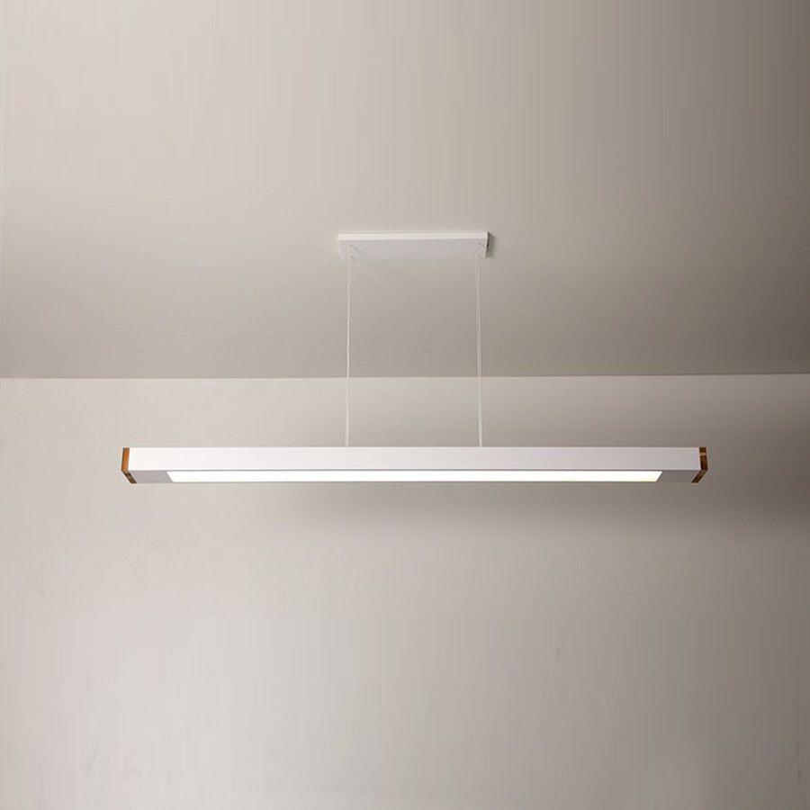 Luminária Pendente 2 Lâmp Retangular 65cm Alumínio Branco e Madeira Arky