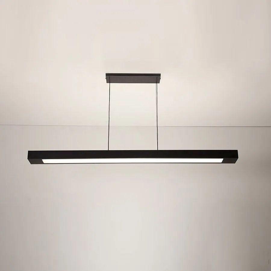 Luminária Pendente 2 Lâmp. Retangular 65cm Alumínio Preto Arky
