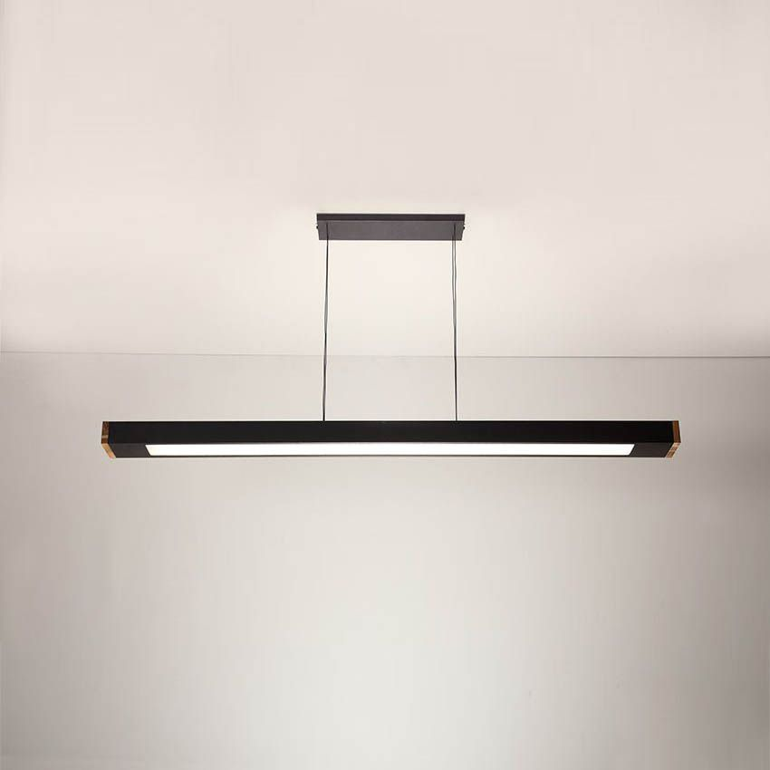 Luminária Pendente 2 Lâmp Retangular 65cm Alumínio Preto e Madeira Arky