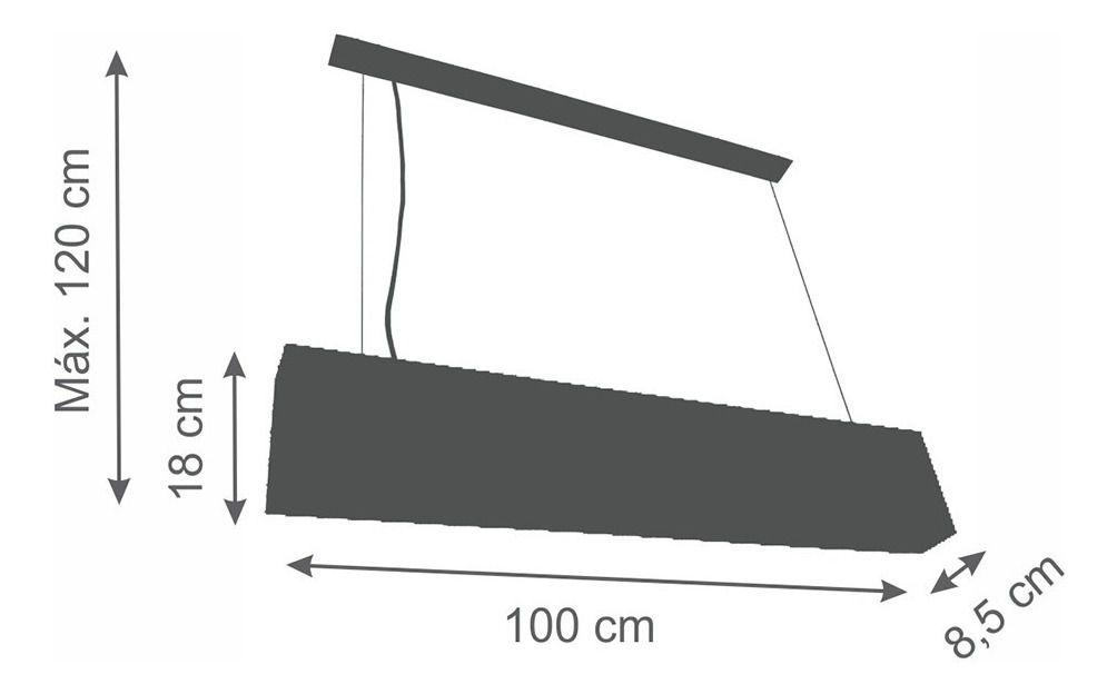 Luminária Pendente Retangular 2 Lâmp Box Aluminium Preto - TKS