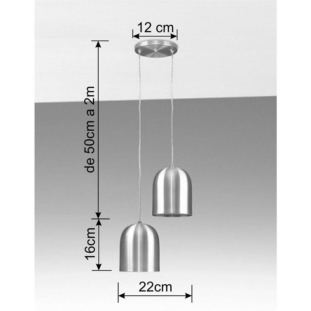 Luminária Pendente 2 Lâmpada Aluminium Preto Texturizado - TKS