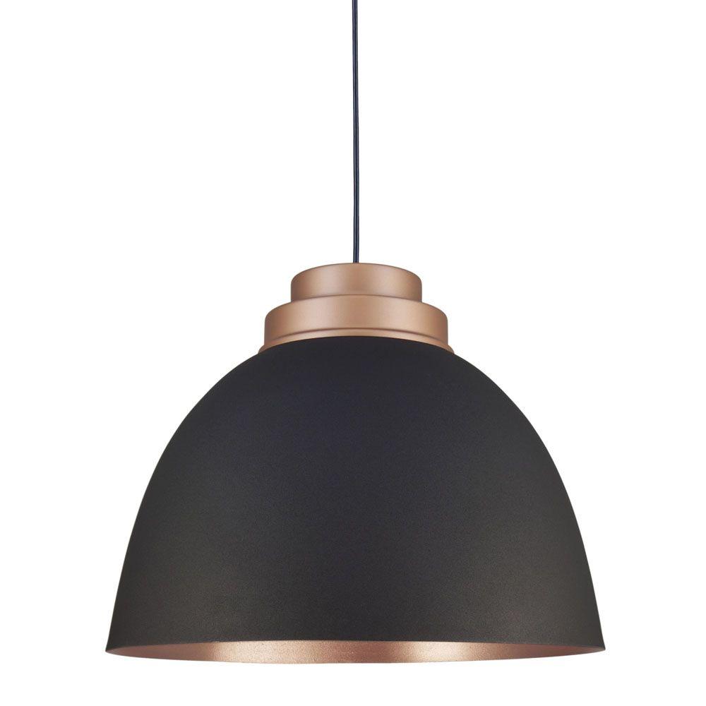 Luminária Pendente 38x45cm Preto Texturizado com Cobre Mate