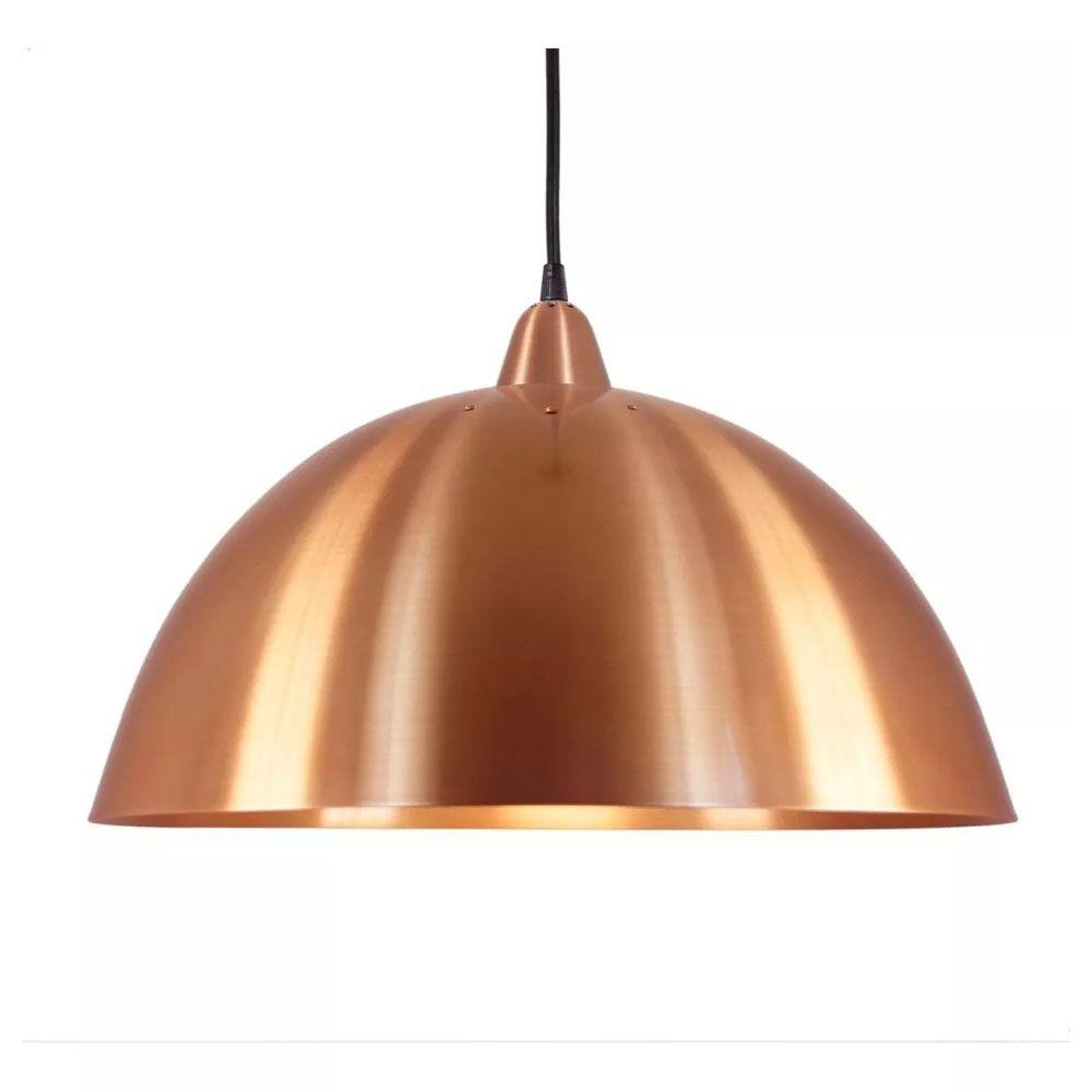 Luminária Pendente Redondo Meia Lua 37cm Aluminium Cobre