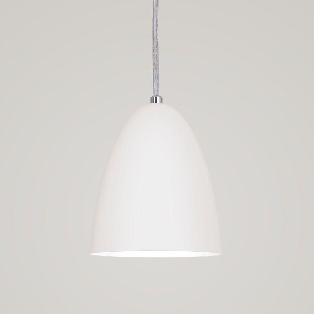 Luminária Pendente Bala 16x13cm Aluminium Branco Texturizado - TKS