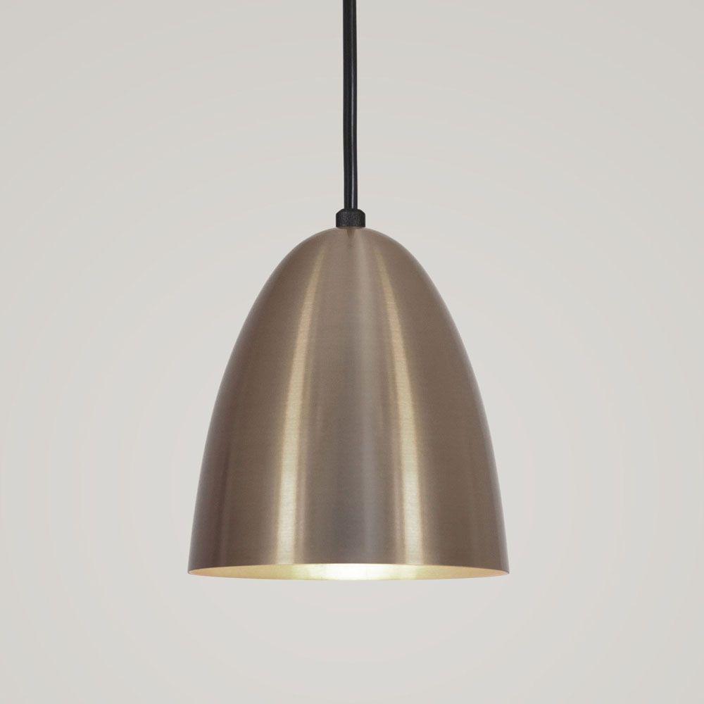 Luminária Pendente Bala 16x13cm 1 Lâmpada Aluminium Bronze