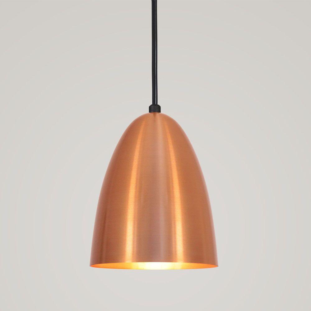 Luminária Pendente Bala 16x13cm 1 Lâmpada Aluminium Cobre