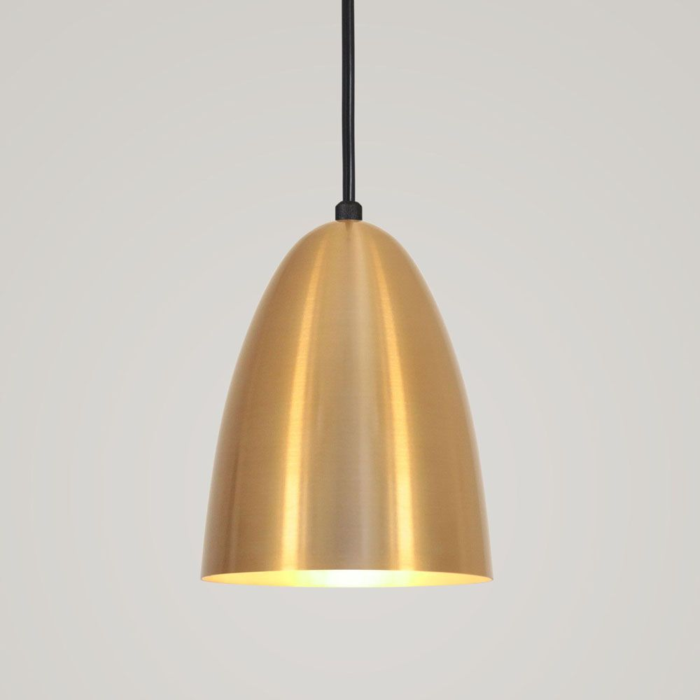 Luminária Pendente Bala 16x13cm 1 Lâmpada Aluminium Dourado