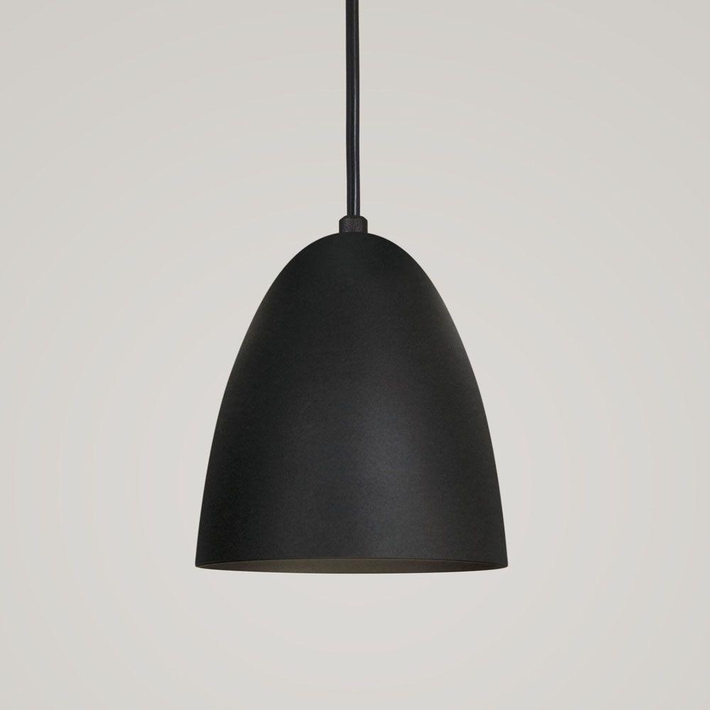 Luminária Pendente Bala 16x13cm Aluminium Preto Texturizado