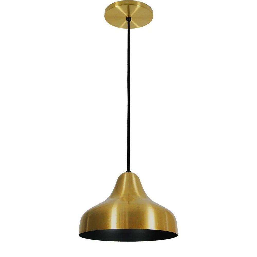 Luminária Pendente Chapéu 23cm Aluminium Dourado