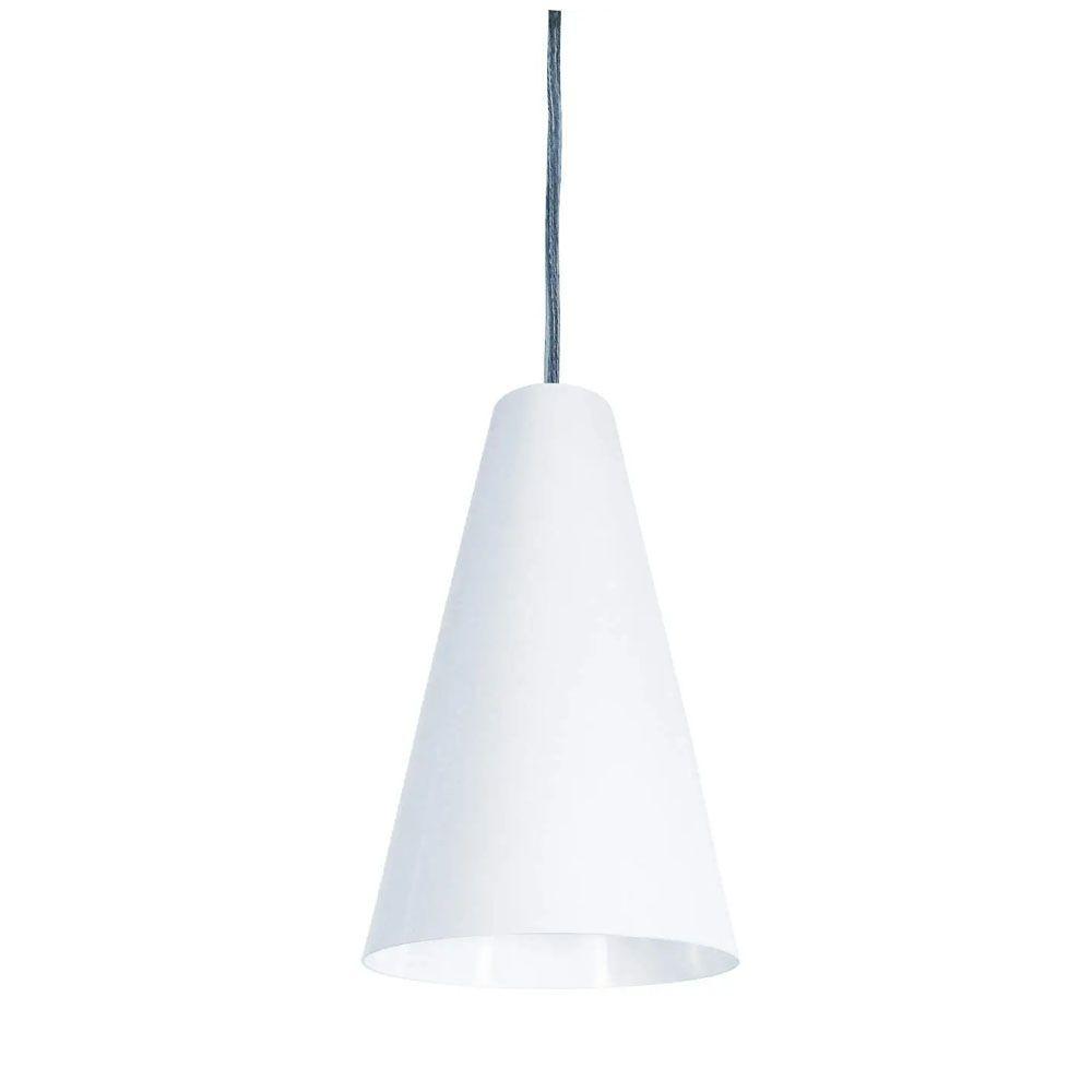 Luminária Pendente Cônico 25x14cm Aluminium Branco Text