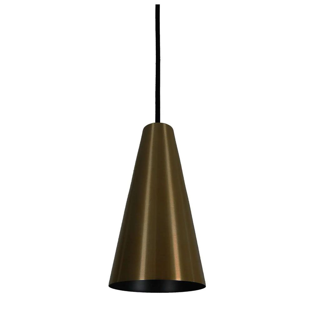 Luminária Pendente Cônico 25x14cm 1 Lâmpada Aluminium Bronze