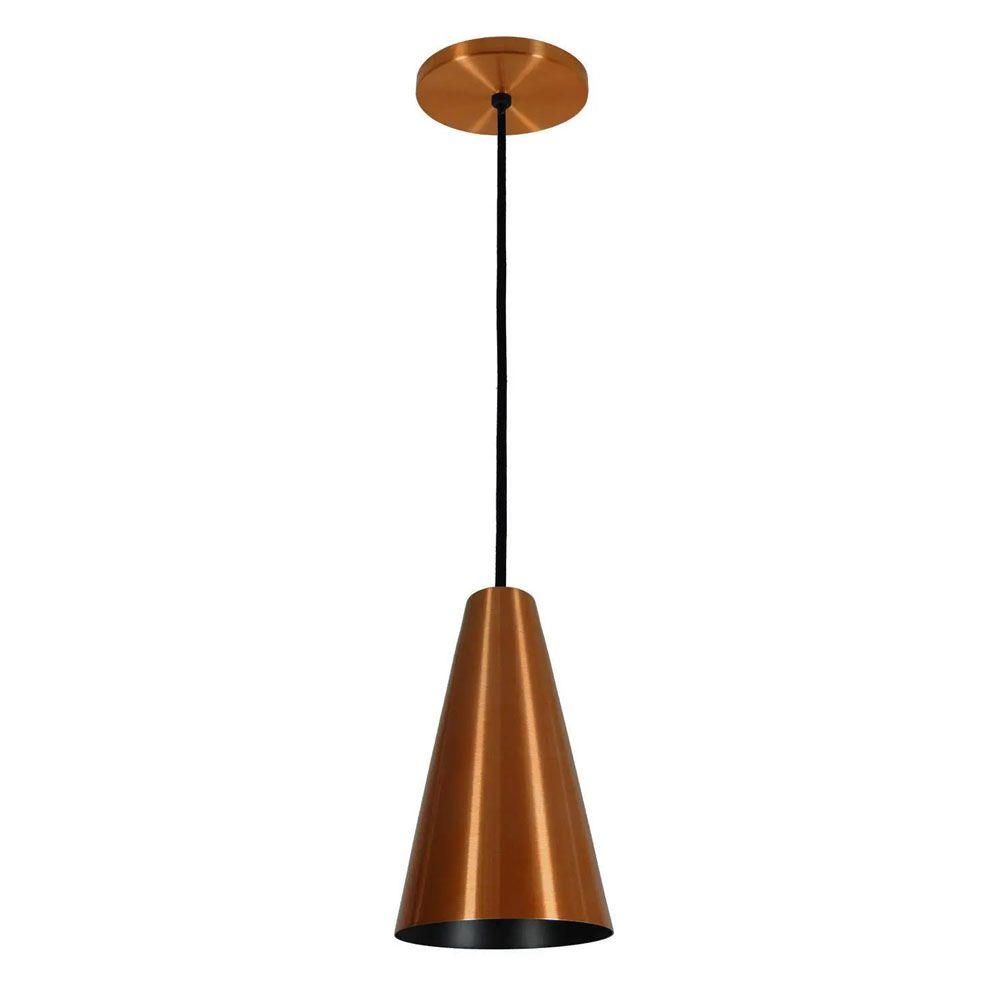 Luminária Pendente Cônico 25x14cm 1 Lâmpada Aluminium Cobre
