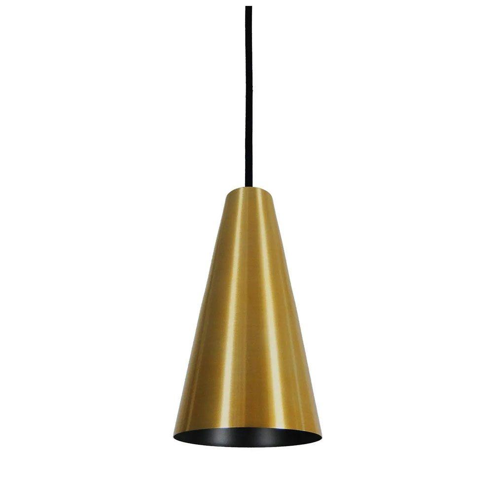 Luminária Pendente Cônico 25x14cm 1 Lâmp Aluminium Dourado - TKS