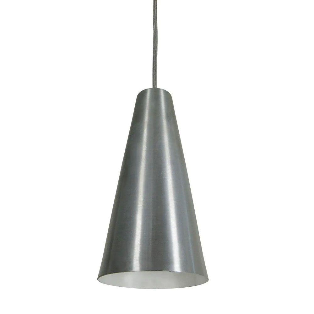 Luminária Pendente Cônico 25x14cm 1 Lâmp Aluminium Escovado