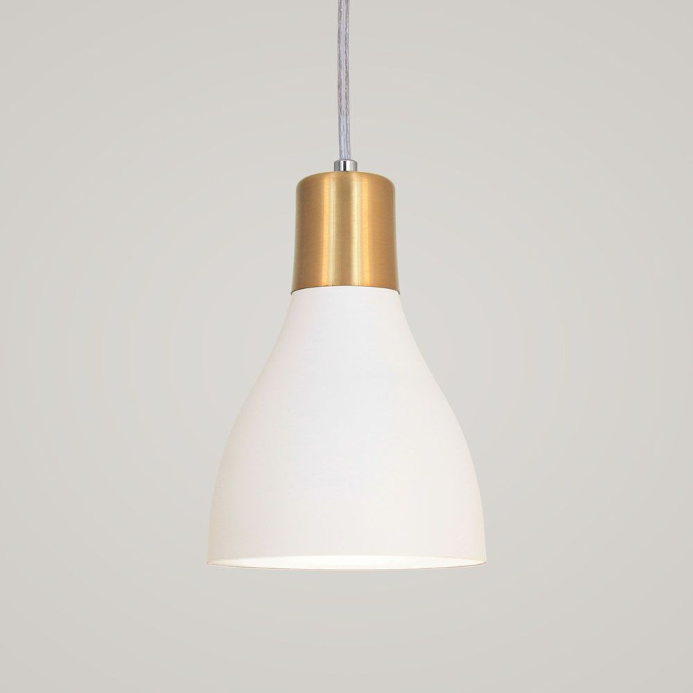 Luminária Pendente Garrafa 20x13.5cm Branco e Dourado