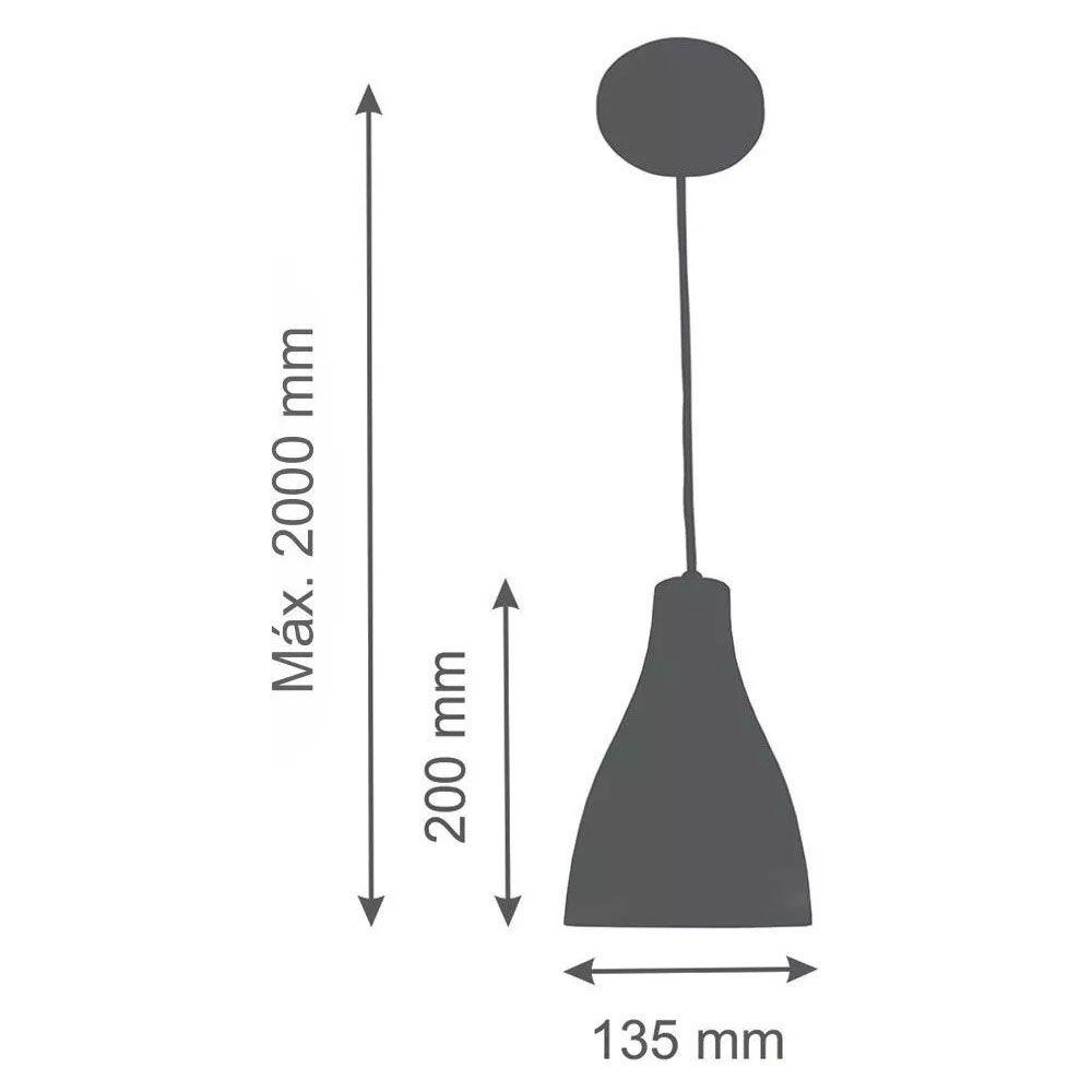 Luminária Pendente Garrafa 20x13.5cm Preto Text com Cobre