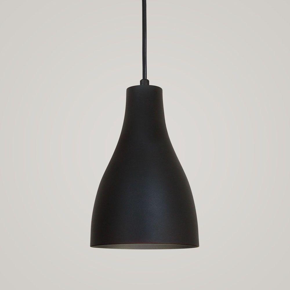 Luminária Pendente Garrafa 20x13.5cm Preto Texturizado