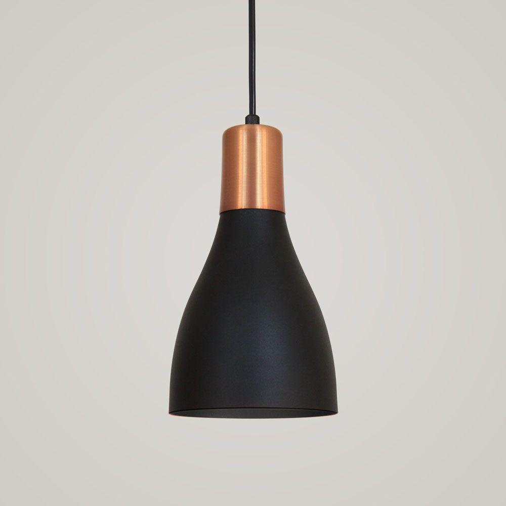 Luminária Pendente Garrafa 20x13.5cm Preto Texturizado PT com Cobre