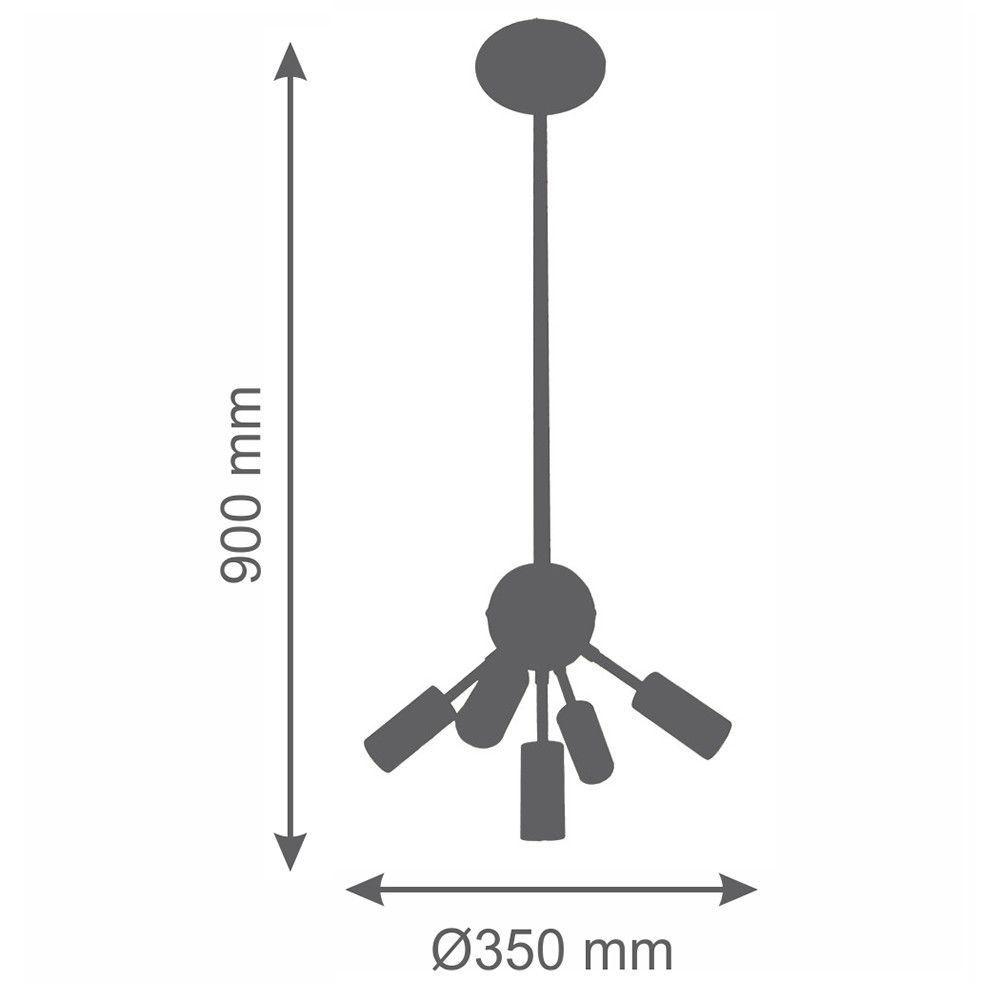 Lustre Pendente Moderno Gregório 5 Lâmpadas 35cm Cobre