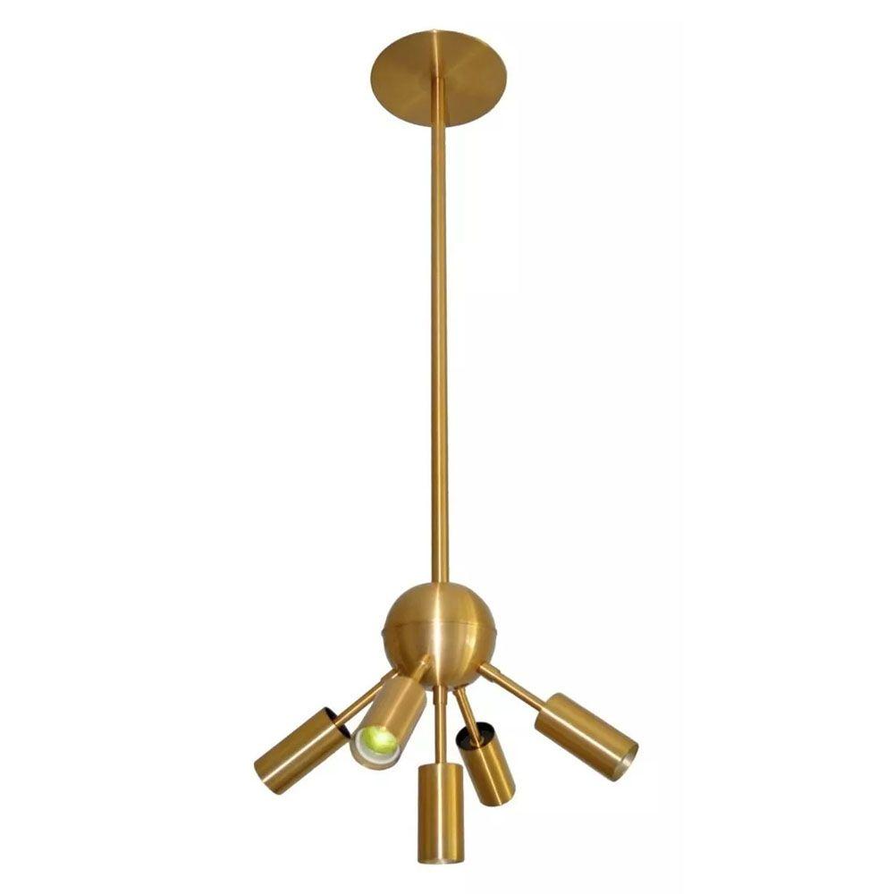 Lustre Pendente Moderno Gregório 5 Lâmpadas 35cm Dourado