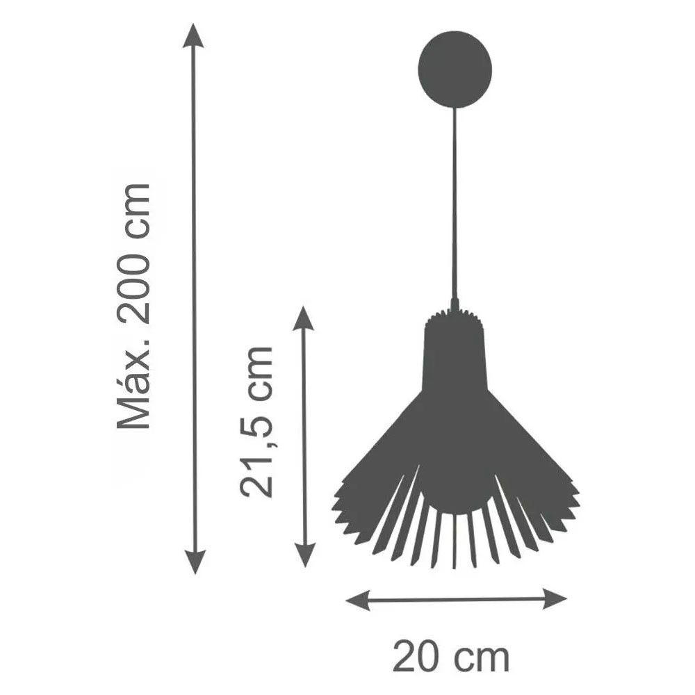 Pendente Madeira Cone 21x20cm 1 Lâmpada Natural - TKS