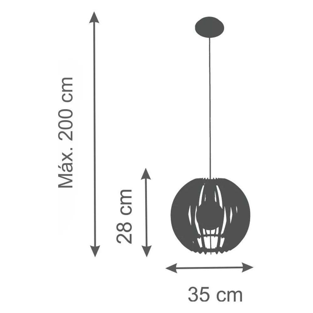 Pendente Madeira Globo M 35cm 1 Lâmpada Natural