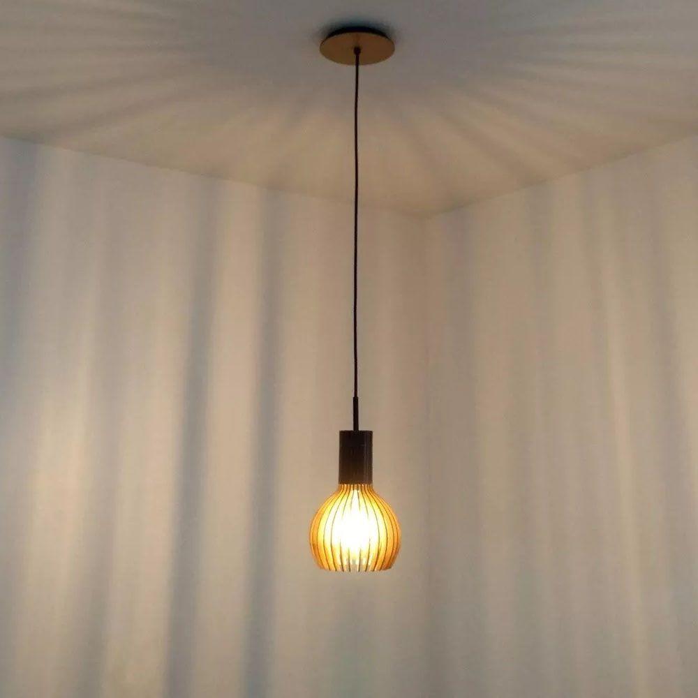 Pendente Madeira Gota M 22x15.5cm 1 Lâmpada Natural