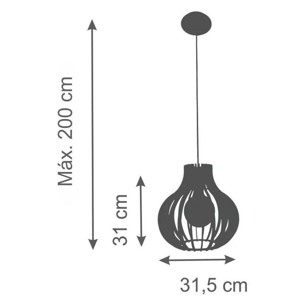 Pendente Madeira Pera 31x31.5cm 1Lâmpada Natural
