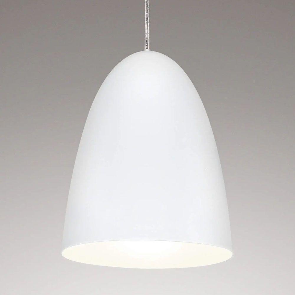 Luminária Pendente Oval 24x18.5cm 1 Lâmpada Aluminium Branco