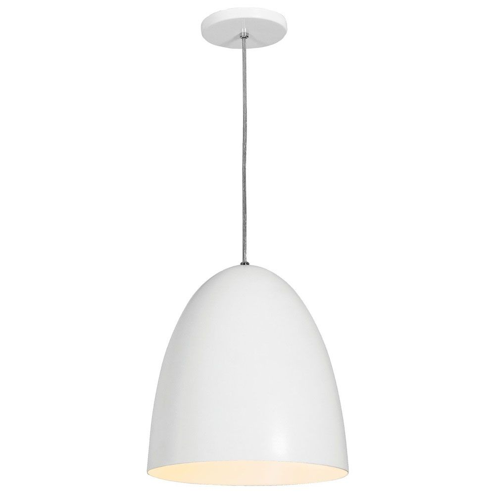 Luminária Pendente Oval 29x27cm Aluminium Branco Texturizado - TKS