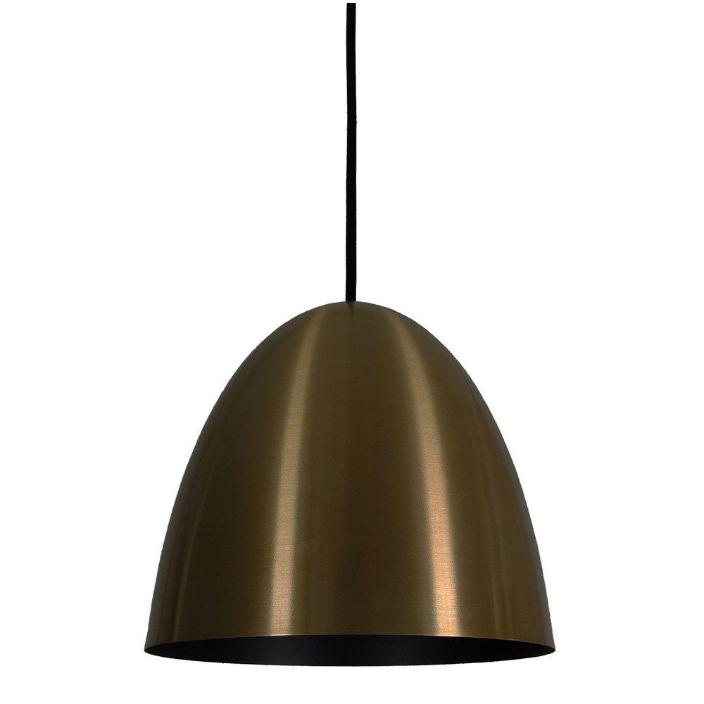 Luminária Pendente Oval 29x27cm 1 Lâmpada Aluminium Bronze - TKS