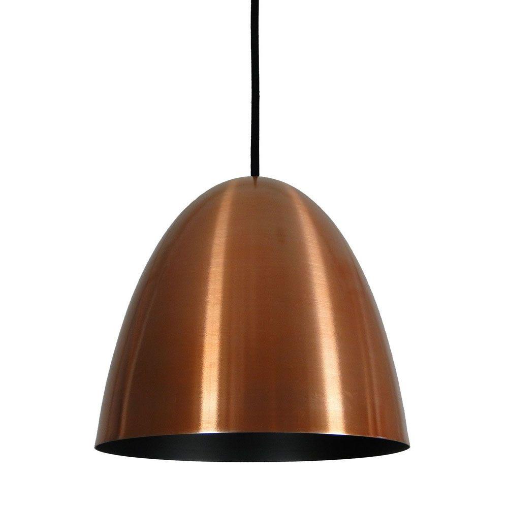 Luminária Pendente Oval 29x27cm 1 Lâmpada Aluminium Cobre