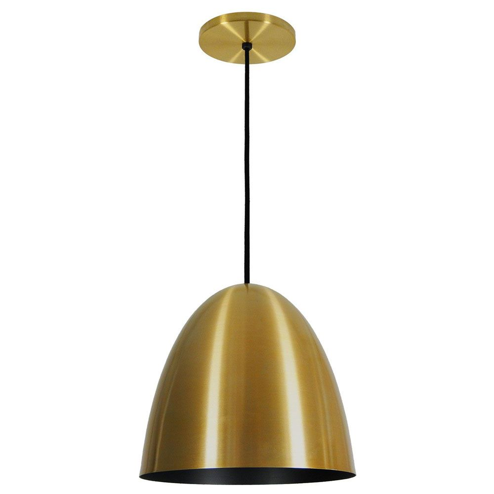 Luminária Pendente Oval 29x27cm 1 Lâmpada Aluminium Dourado