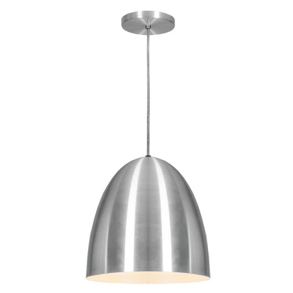 Luminária Pendente Oval 29x27cm 1 Lâmpada Aluminium Escovado