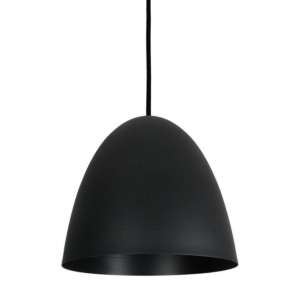 Luminária Pendente Oval 29x27cm Aluminium Preto Texturizado - TKS