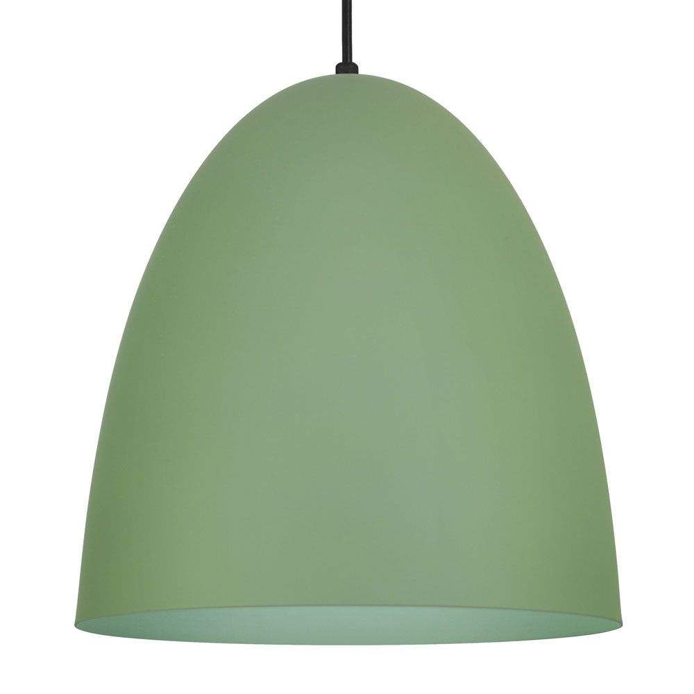 Luminária Pendente Oval 29x27cm 1 Lâmp Aluminio Verde Mate - TKS